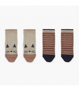 Liewood Silas cotton socks 2-pack Cat